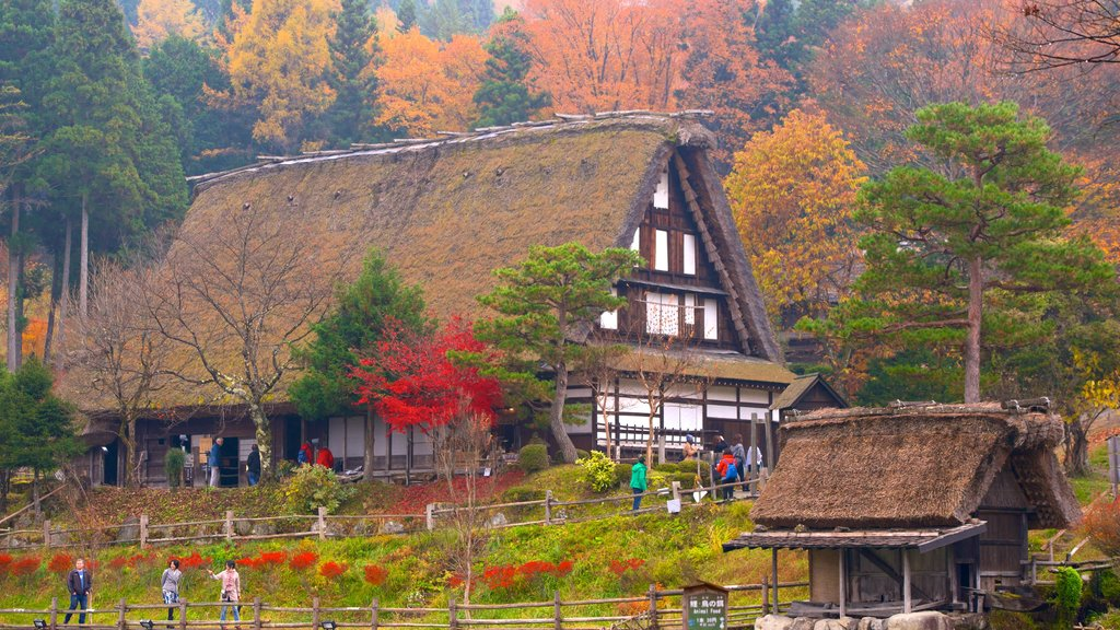 Hida Minzoku Mura Folk Village featuring fall colors and a house