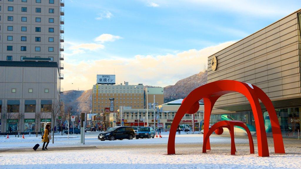 Hakodate mostrando arte al aire libre y nieve