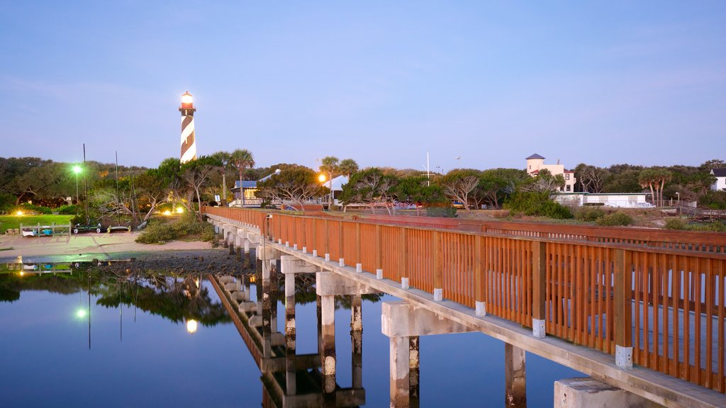 St. Augustine Lighthouse and Museum showing a bridge and night scenes