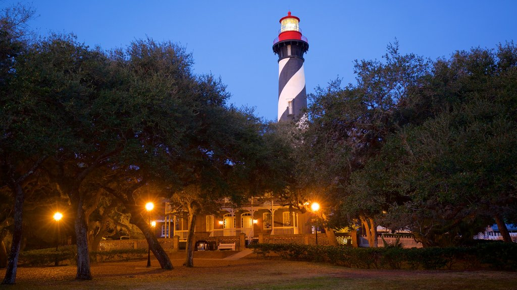 St. Augustine Lighthouse and Museum which includes night scenes and a lighthouse