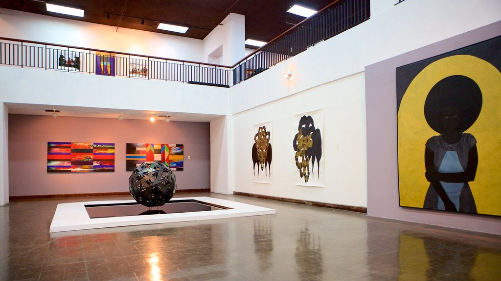 National Gallery of Jamaica featuring art and interior views