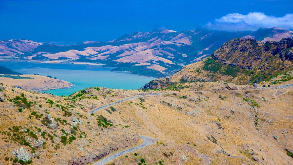 Teleférico de Christchurch que incluye montañas, vistas generales de la costa y vistas de paisajes