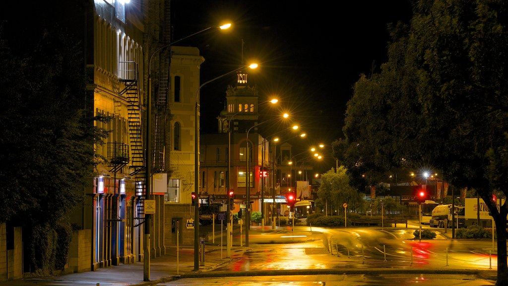 Dunedin showing street scenes and night scenes