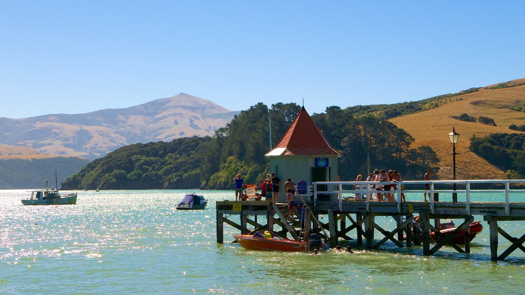 Akaroa showing general coastal views as well as a large group of people