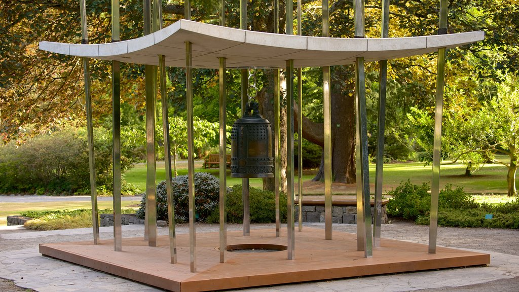 Jardín botánico de Christchurch mostrando arte al aire libre