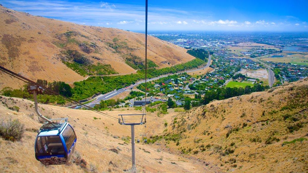 Teleférico de Christchurch que incluye vistas de paisajes y una góndola