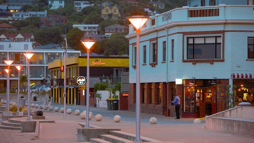 St. Clair Beach ofreciendo escenas nocturnas y escenas urbanas y también un hombre