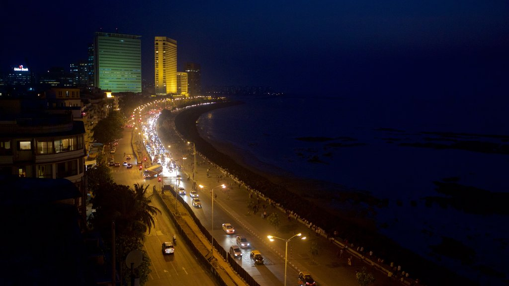 Marine Drive showing night scenes