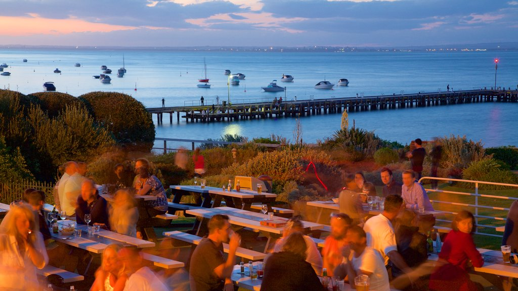 Portsea showing outdoor eating, general coastal views and a sunset