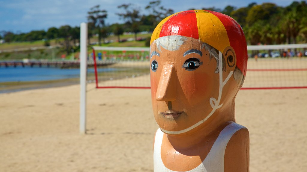 Geelong showing a sandy beach, a statue or sculpture and outdoor art