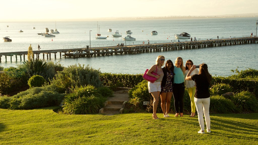 Portsea featuring a sunset and general coastal views as well as a large group of people