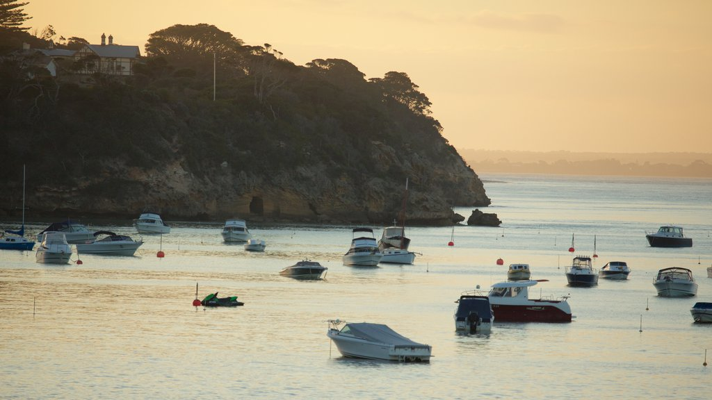 Portsea showing a sunset, general coastal views and boating