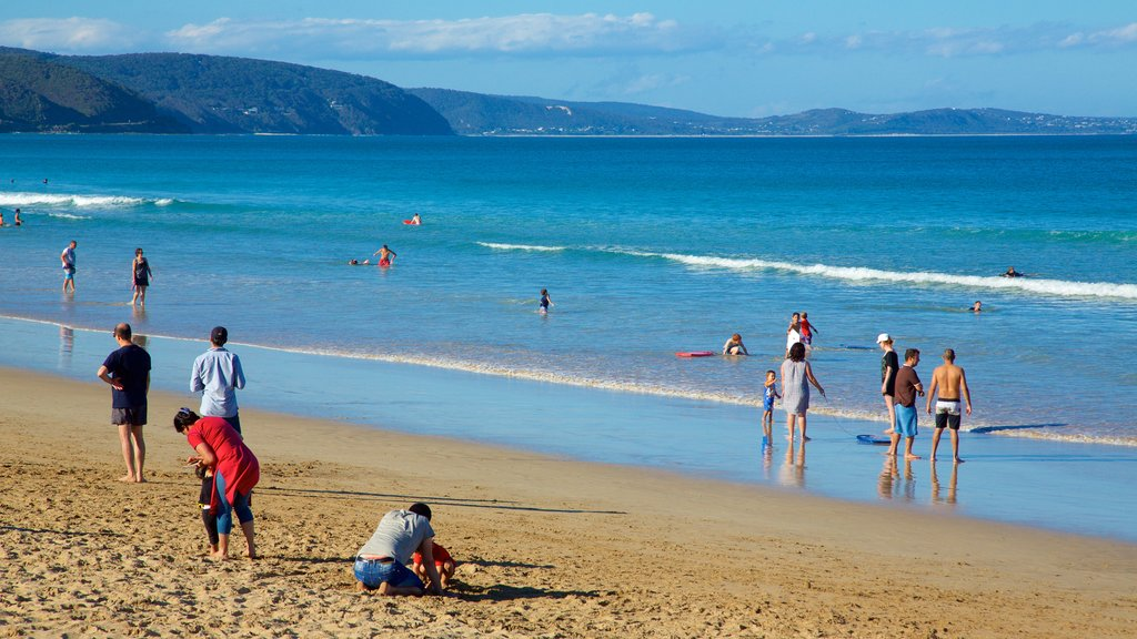 Lorne showing a sandy beach as well as a large group of people