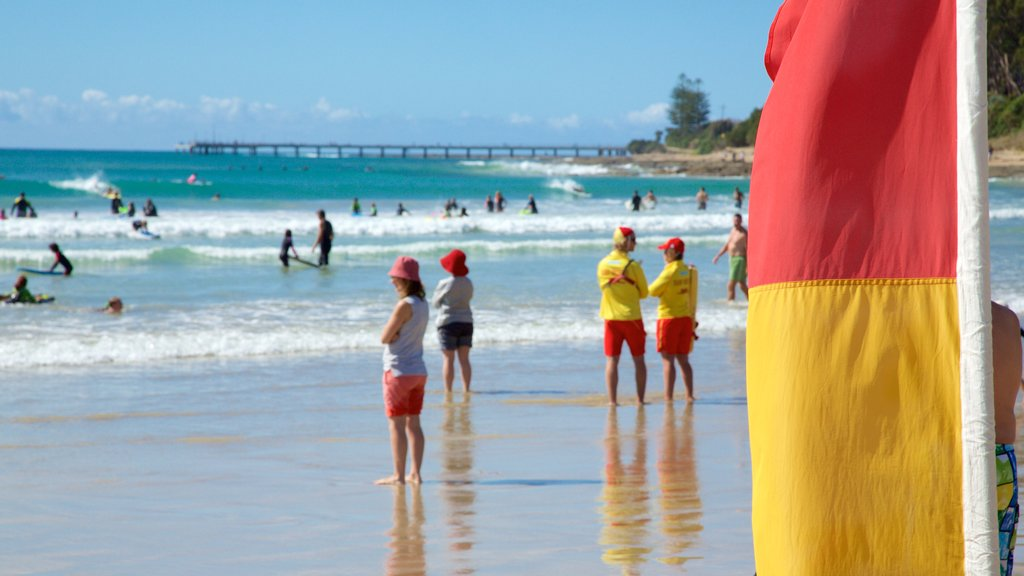 Lorne showing a beach as well as a large group of people