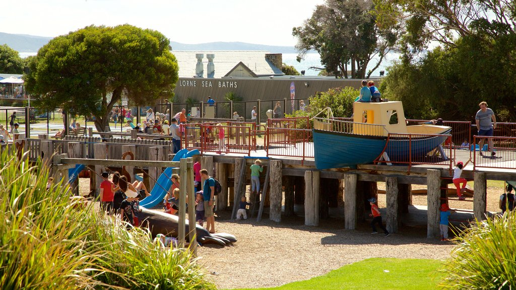 Lorne showing a playground as well as a large group of people