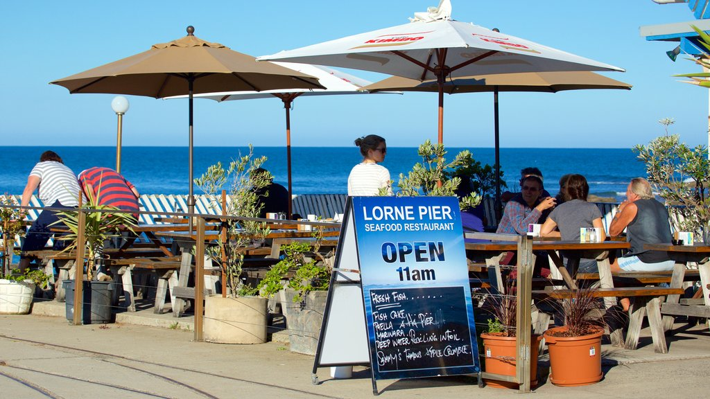 Lorne featuring general coastal views, cafe lifestyle and outdoor eating