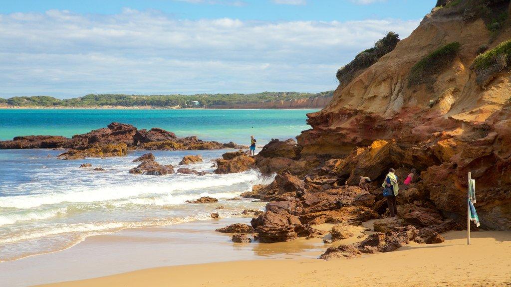 Anglesea showing a sandy beach and rocky coastline