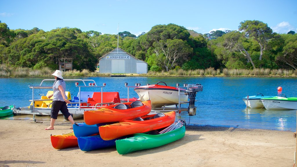 Anglesea showing kayaking or canoeing as well as an individual femail