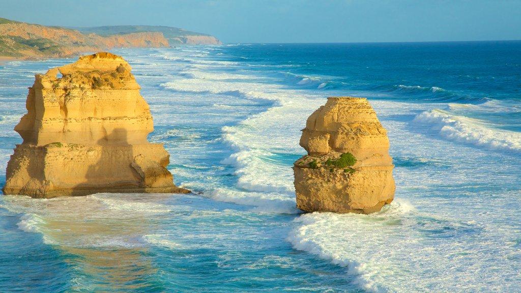 Twelve Apostles showing rocky coastline