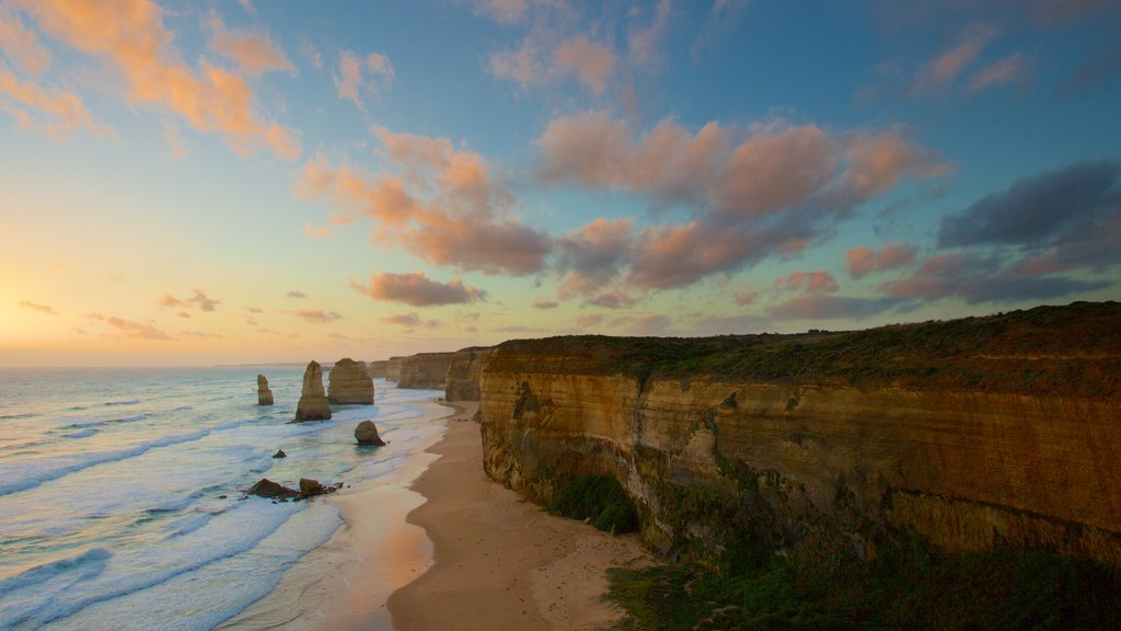 Twelve Apostles which includes landscape views, a gorge or canyon and a sunset