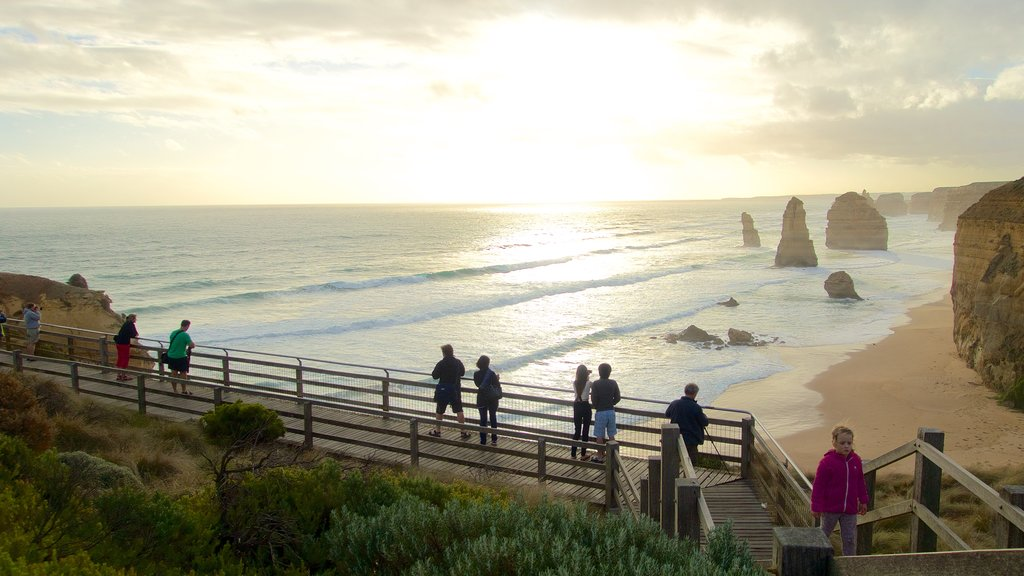 Twelve Apostles showing views, a sunset and general coastal views