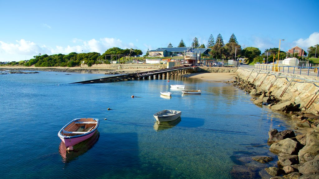 Apollo Bay Harbour featuring boating and general coastal views