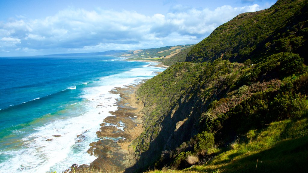 Great Ocean Road featuring rugged coastline, landscape views and mountains