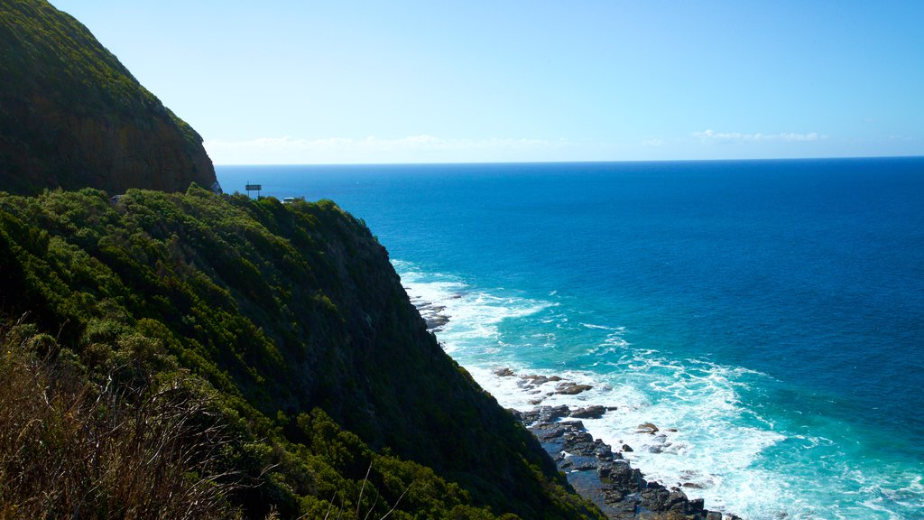 Great Ocean Road which includes mountains and rugged coastline