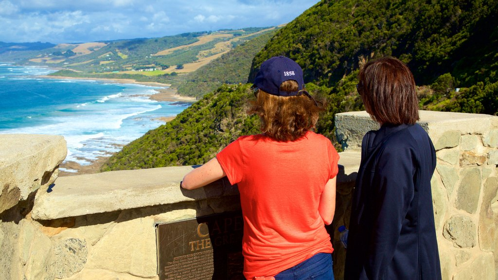 Great Ocean Road showing views and general coastal views as well as a small group of people