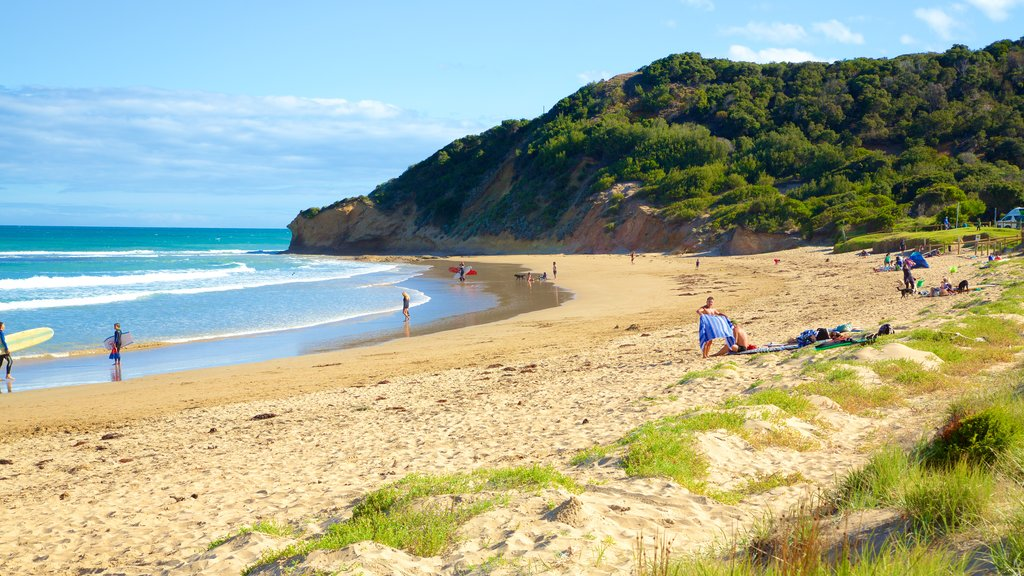 Great Ocean Road which includes a beach and a bay or harbor