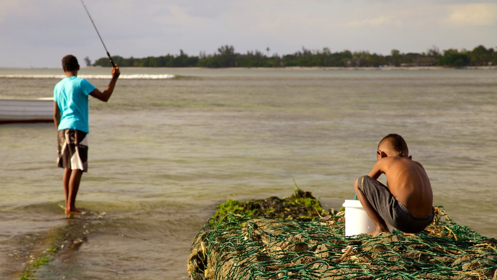 Mauritius featuring fishing and general coastal views as well as children
