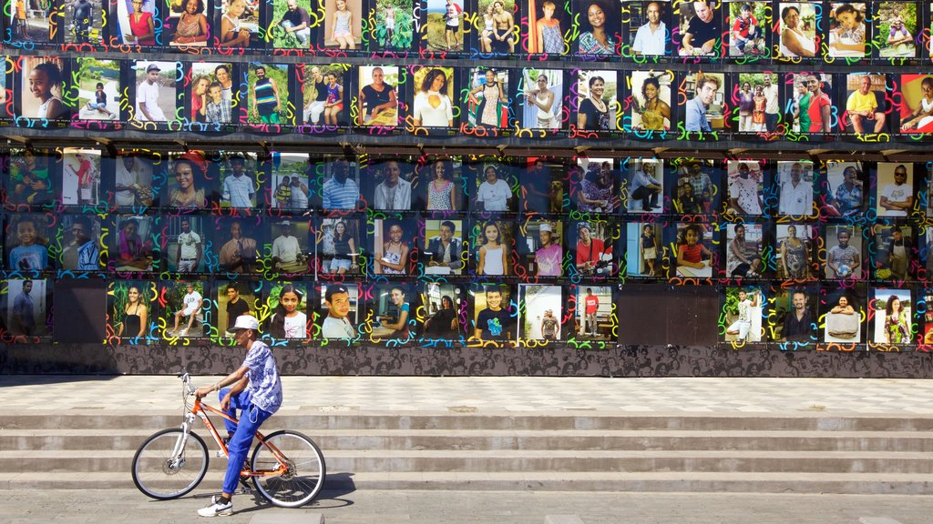 Saint-Paul which includes cycling and outdoor art as well as an individual male