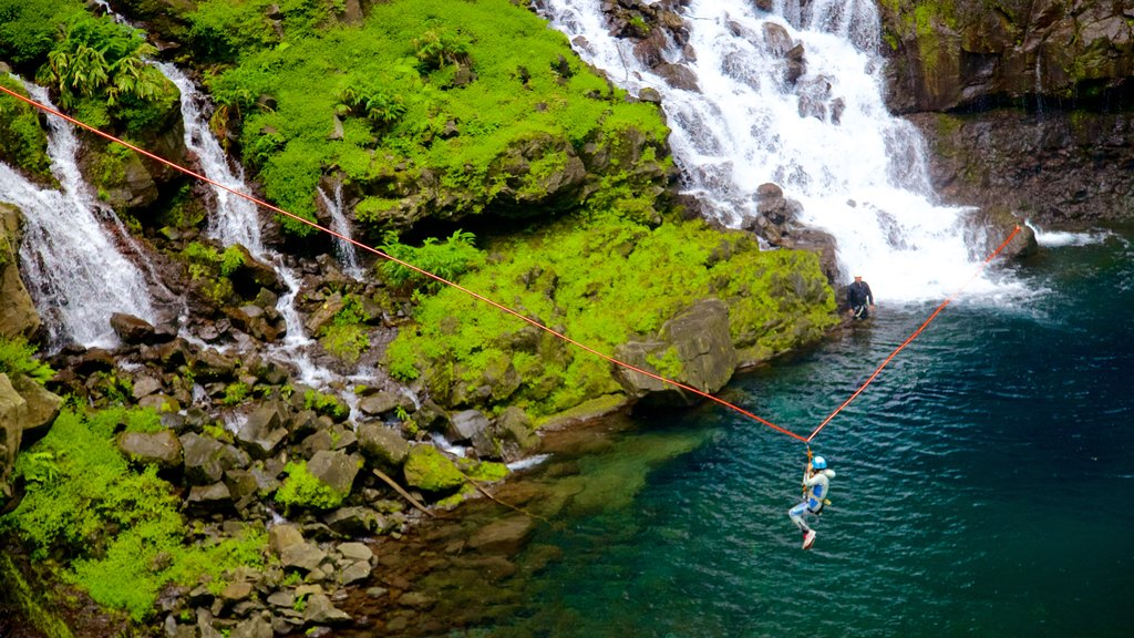 Grand Galet Falls which includes zip lining, a lake or waterhole and a cascade