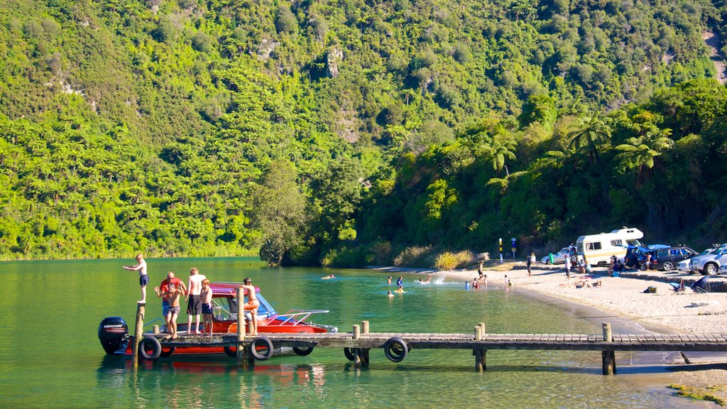 Lake Tarawera as well as a small group of people
