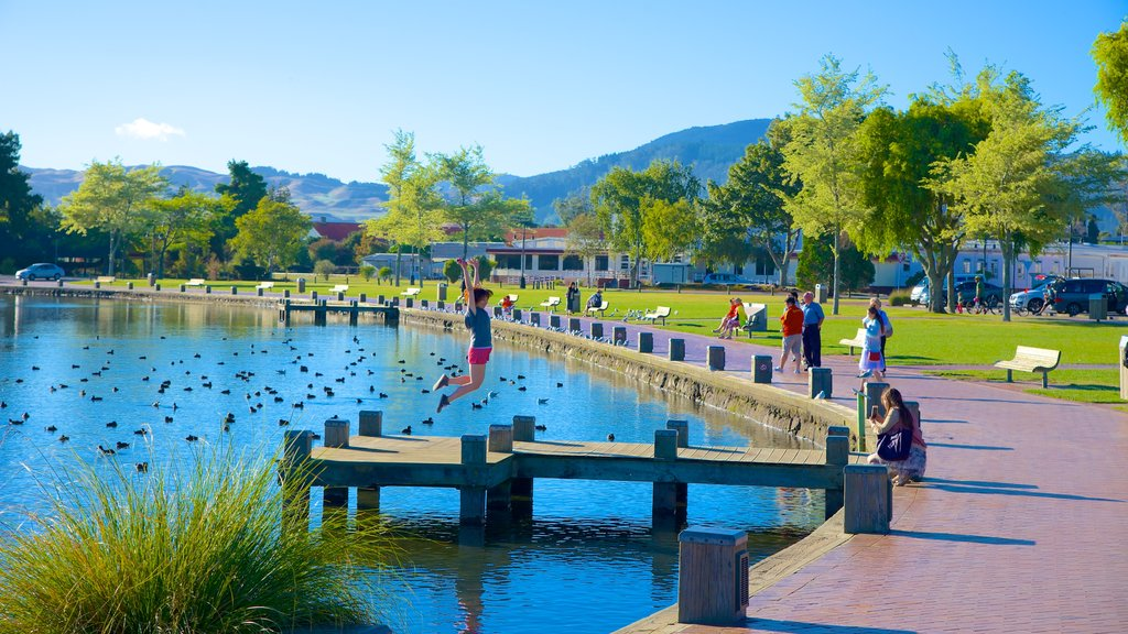 Lake Rotorua featuring a lake or waterhole and a garden as well as a small group of people