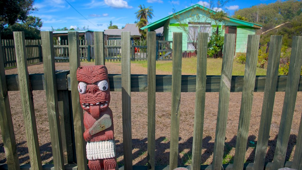 Whakarewarewa Thermal Reserve que incluye una casa, cultura indígena y arte