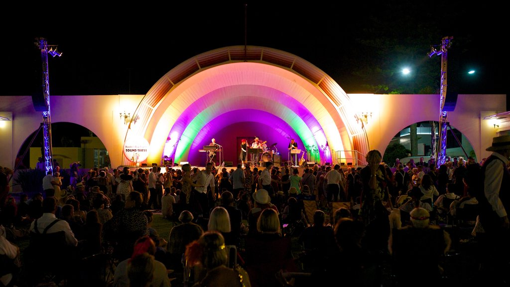 Napier Soundshell which includes night scenes, performance art and theater scenes