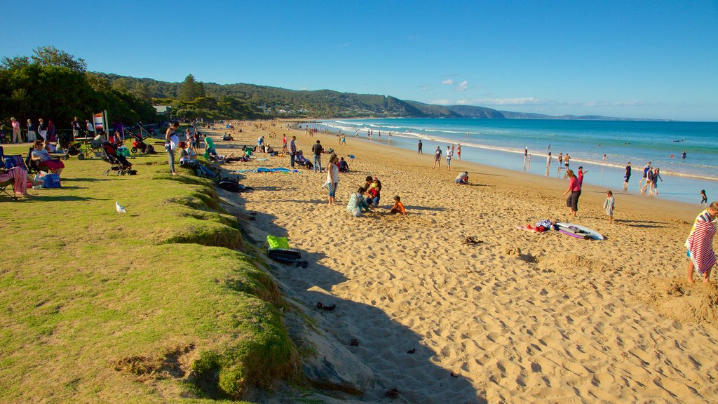Lorne featuring a sandy beach as well as a large group of people