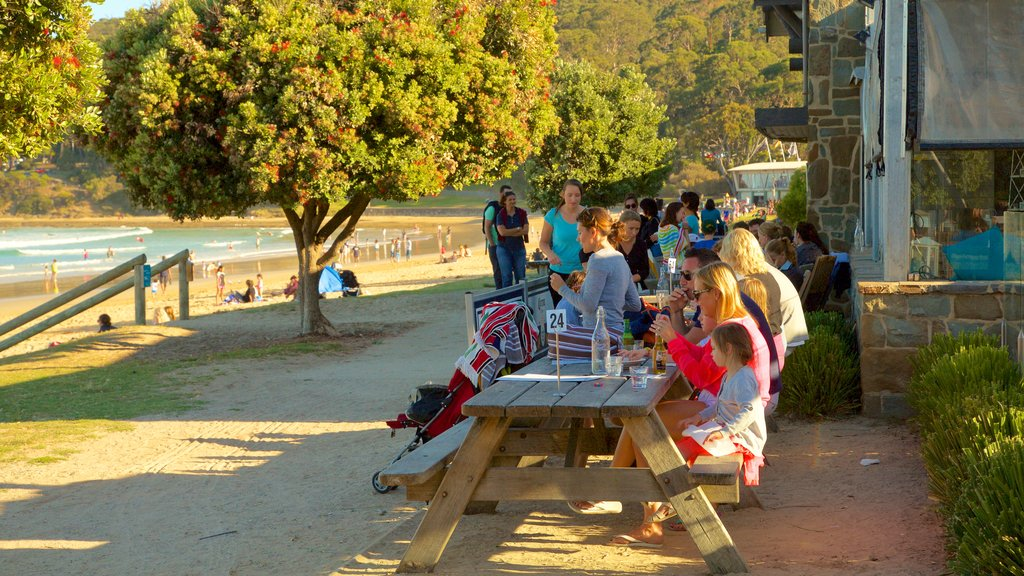 Lorne showing general coastal views and outdoor eating as well as a small group of people