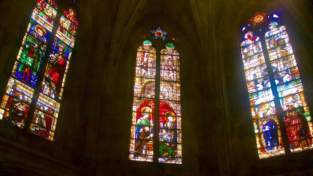 Metz Cathedral featuring religious elements, a church or cathedral and interior views