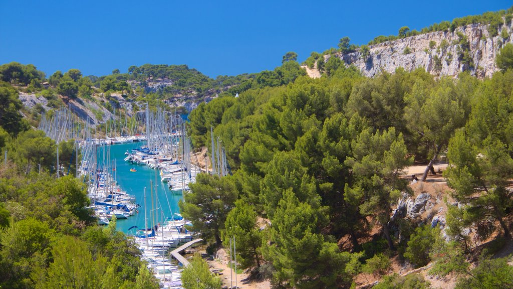 Calanques featuring tranquil scenes, a marina and sailing