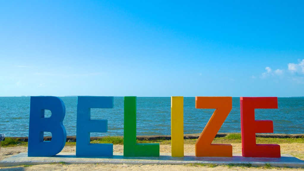 Belize featuring signage and general coastal views