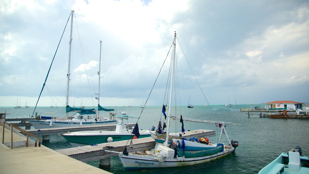 Placencia Beach showing sailing and general coastal views