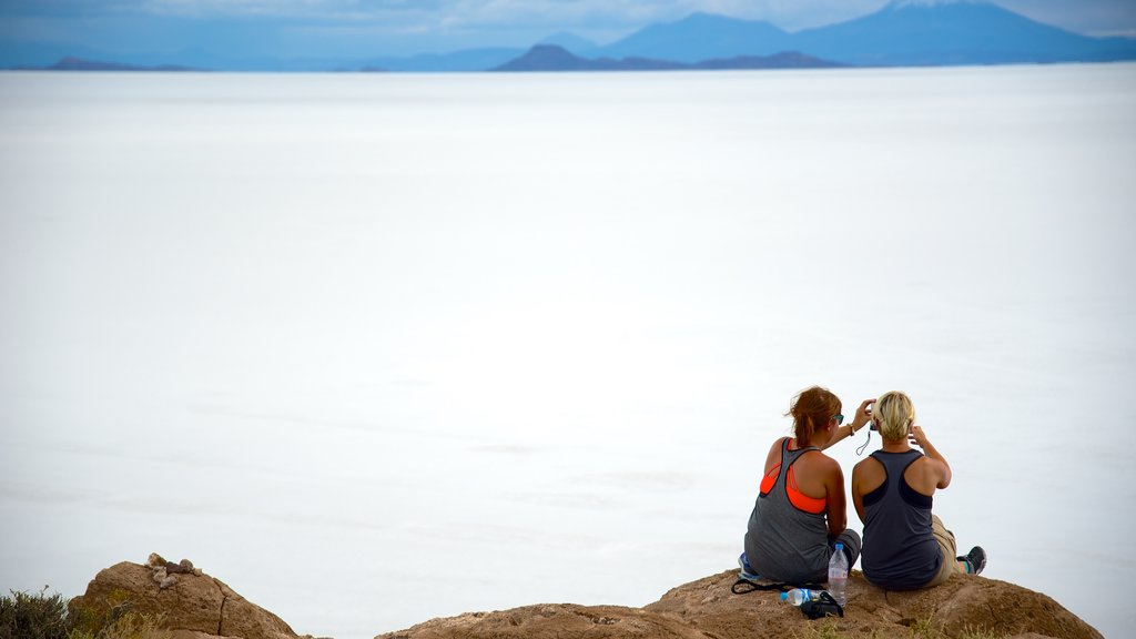 Uyuni which includes mist or fog and landscape views