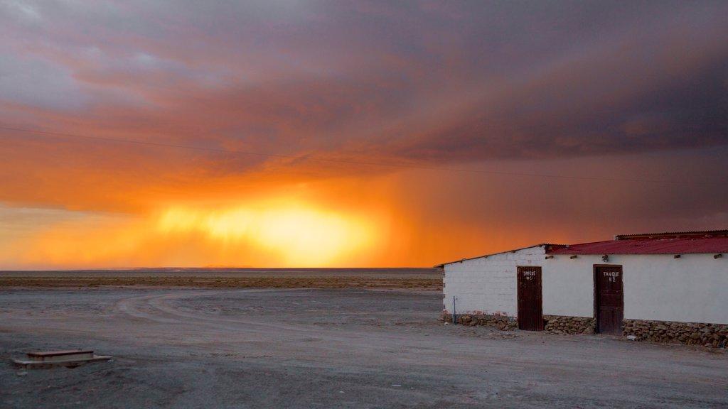 Uyuni mostrando una puesta de sol y escenas tranquilas