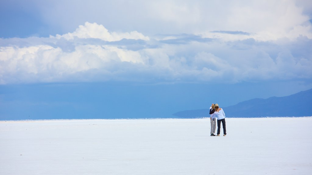 Salar de Uyuni showing tranquil scenes as well as a small group of people