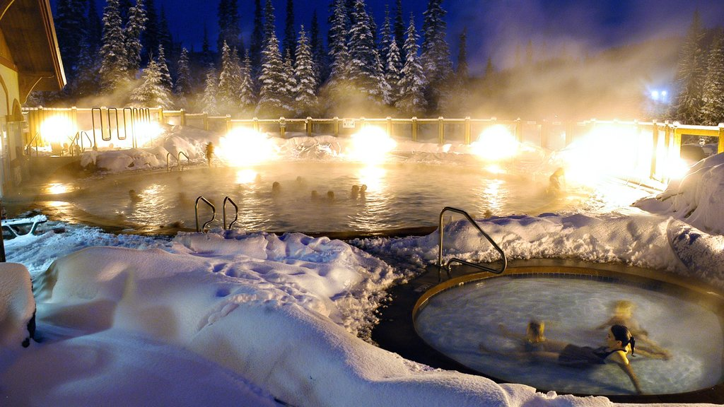 Sun Peaks which includes night scenes, snow and a day spa