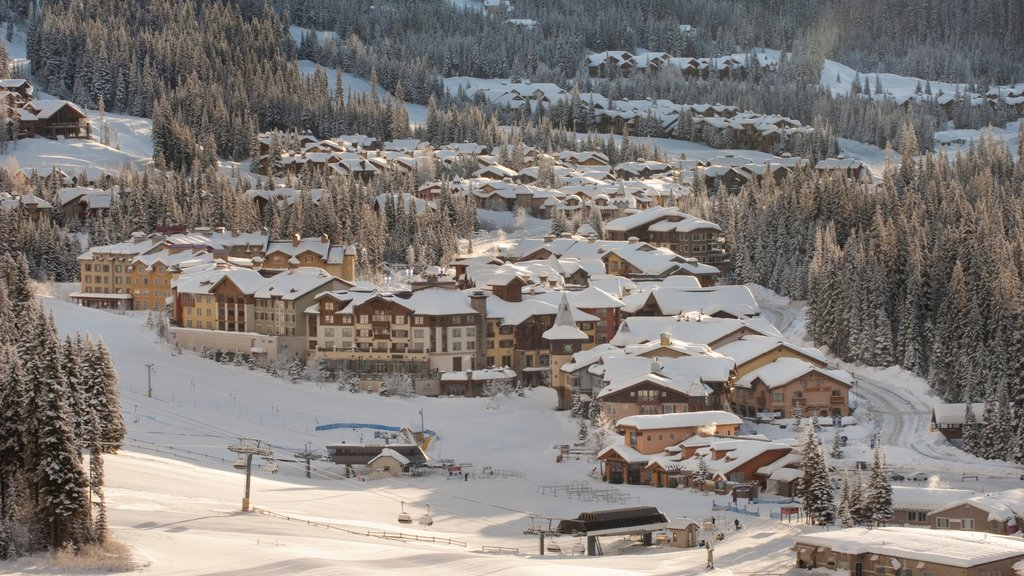 Sun Peaks showing a small town or village and snow