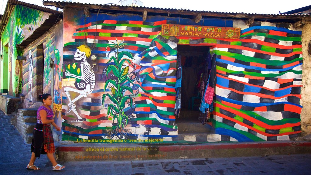 San Pedro La Laguna featuring outdoor art as well as an individual femail