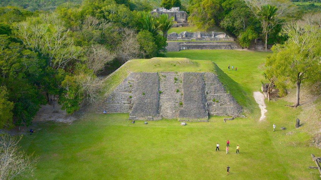 Yacimiento arqueológico Xunantunich mostrando un monumento, escenas forestales y elementos del patrimonio